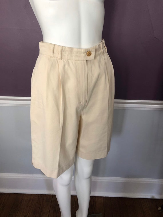 80s 90s Twill Bermuda Shorts Tailored with Pleats… - image 4