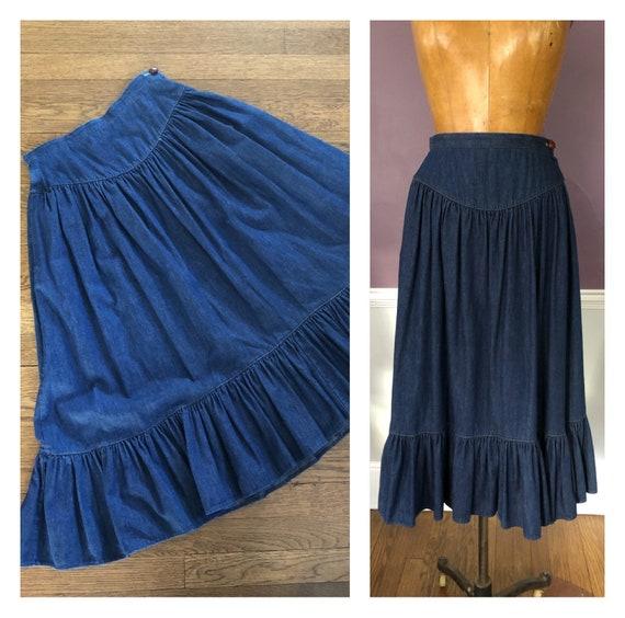 Adorable 80s Prairie Skirt in Dark Denim / Retro 8