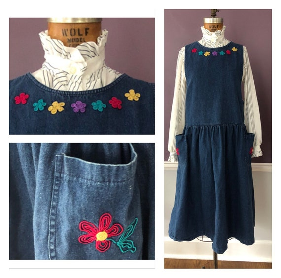 Adorable 80s 90s Embroidered Denim Jumper with Poc
