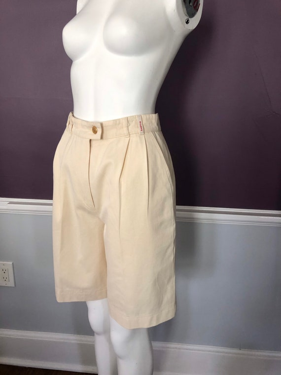 80s 90s Twill Bermuda Shorts Tailored with Pleats… - image 3