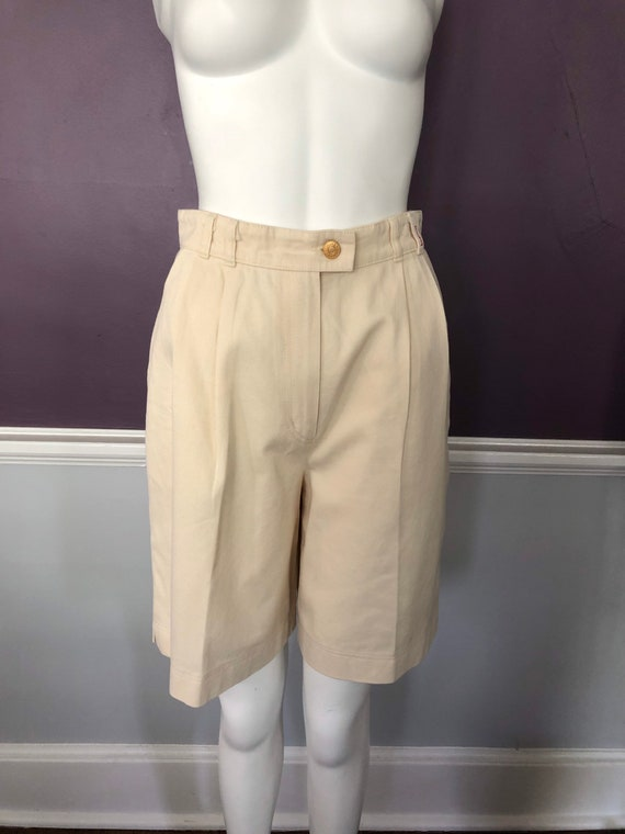 80s 90s Twill Bermuda Shorts Tailored with Pleats… - image 2