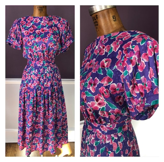 Pretty 80s Floral Puff Lantern Sleeve Party Dress