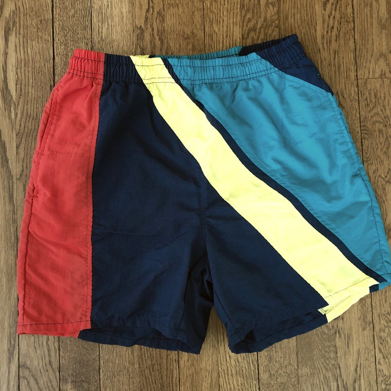 8bfb7a8d65 Vintage 80s High Waist Short Inseam Colorblock Swim Trunks | Etsy