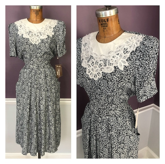 UNWORN! Romantic 80s 90s Ditsy Floral Dress with L
