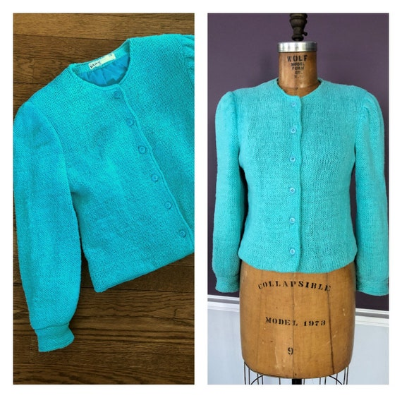 Adorable 80s 90s Bill Blass Puff Sleeve Boxy Fit S