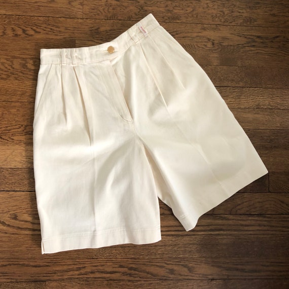 80s 90s Twill Bermuda Shorts Tailored with Pleats… - image 5
