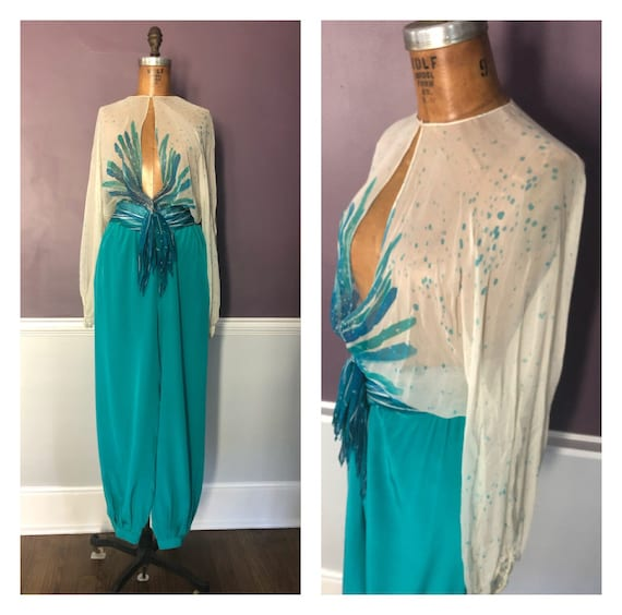 Stunning 70s 80s Designer Disco 2 Piece Blouse and