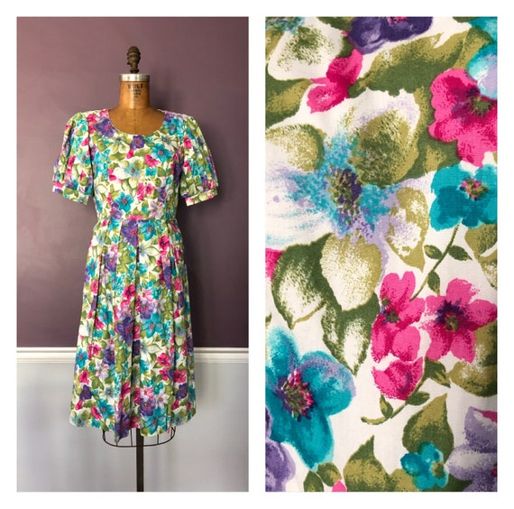 Pretty 80s Garden Party Floral Prairie Party Dress