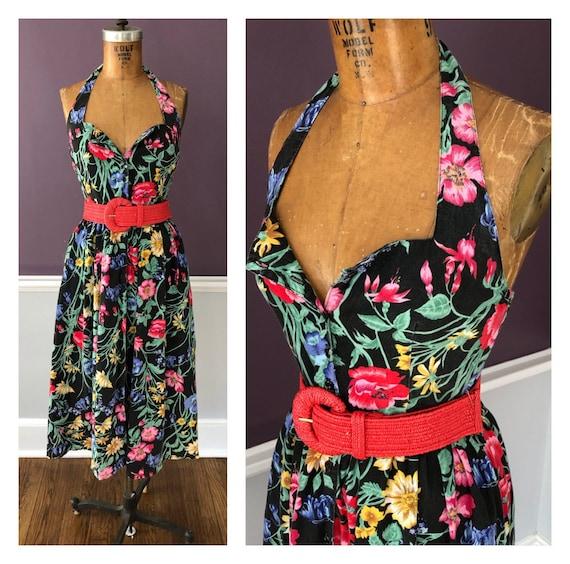 Fabulous Vintage 80s does 50s Floral Sundress / Re