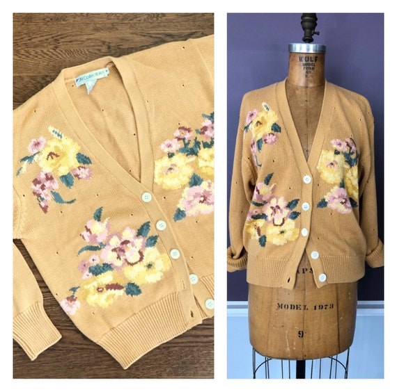 Gorgeous 80s 90s Rich Floral Oversized Cardigan Sw