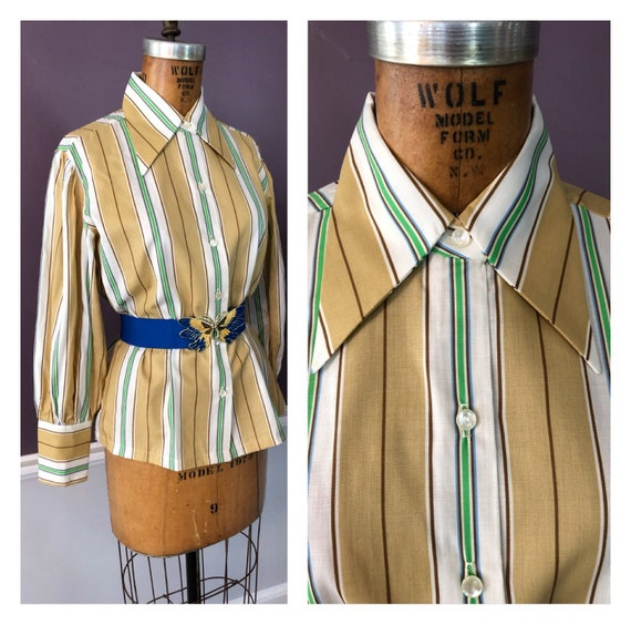 Striped 70s Butterfly Collar with Bishop Sleeves W