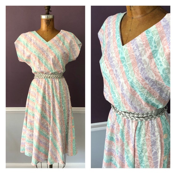 Adorable 80s Bias Party Dress / Retro 80s Dolman C