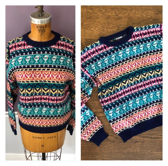 80s Geometric Pullover Men Sweater Pastel colours Sweater Casual Pullover M L