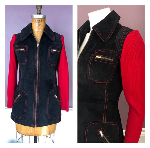 Groovy 70s Suede Jacket with Red Topstitching and