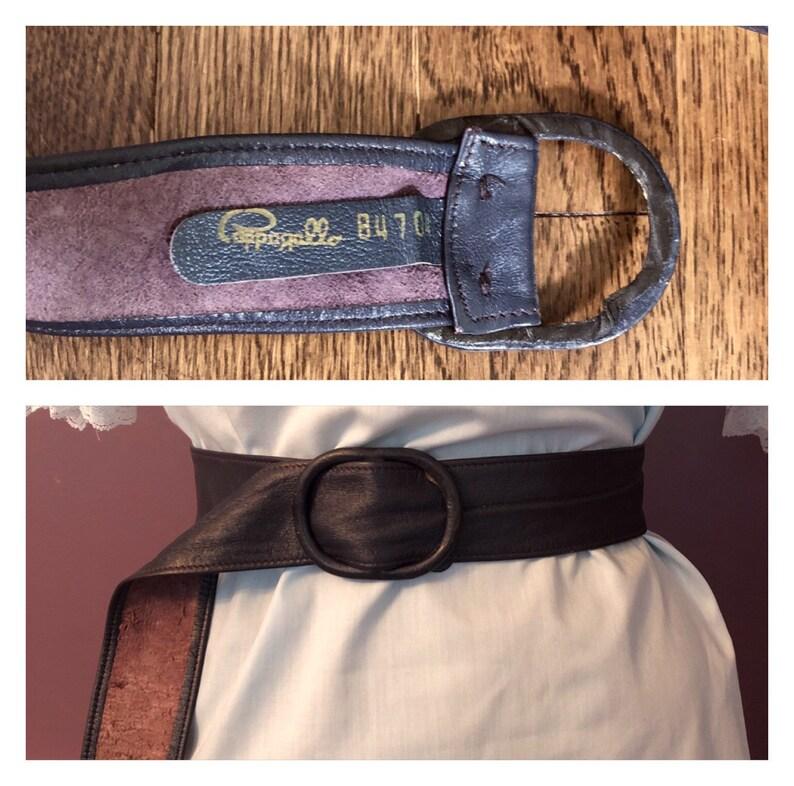 Vintage 80s Pappagallo Super Soft Leather Slide Belt  Retro Designer Tie Belt in Dark Purple