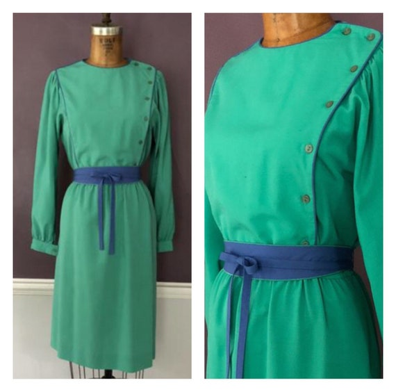 Vintage 80s Leslie Fay Romantic Bib Dress / 1980s… - image 1