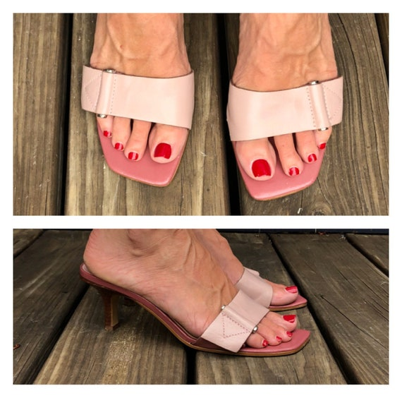 Fabulous Pink 90s Square Toe Mules / 90s 00s Stack