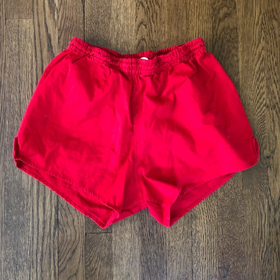 Vintage Red 1970s Basketball Shorts / 70s 80s Cott