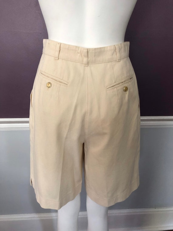 80s 90s Twill Bermuda Shorts Tailored with Pleats… - image 9