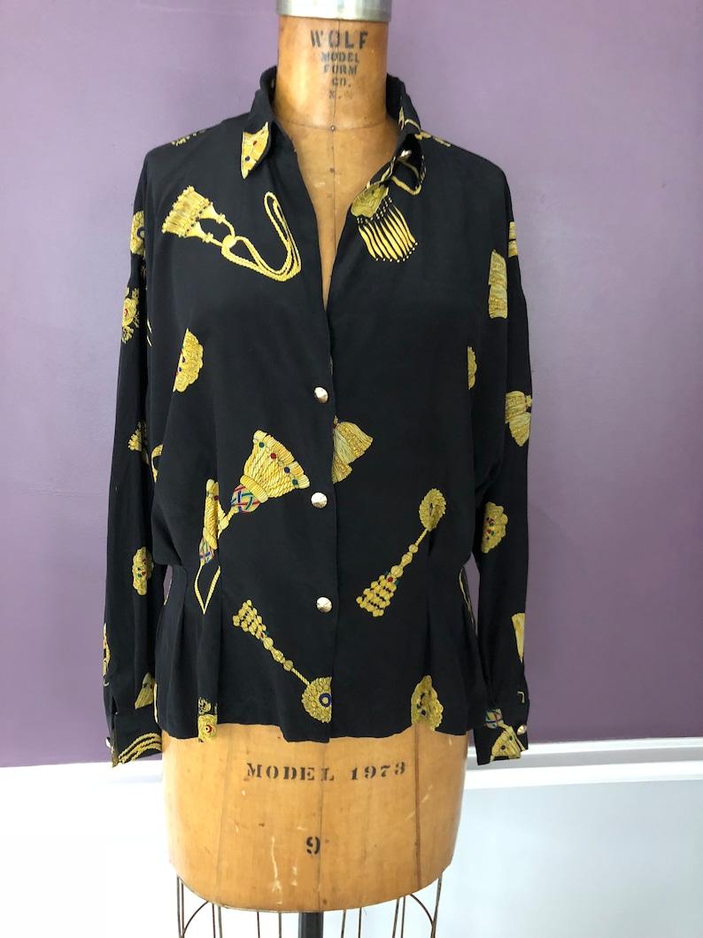 Vintage silk 80s peplum blouse in gold tassel print  Versace inspired  Baroque print