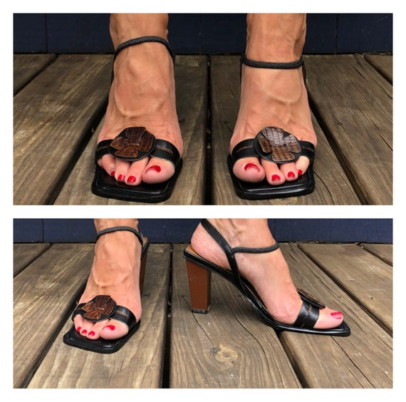 Fabulous UNWORN 90s Square Toe Block Heel Sandals