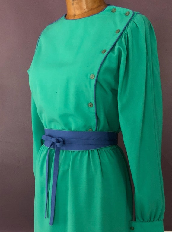 Vintage 80s Leslie Fay Romantic Bib Dress / 1980s… - image 3