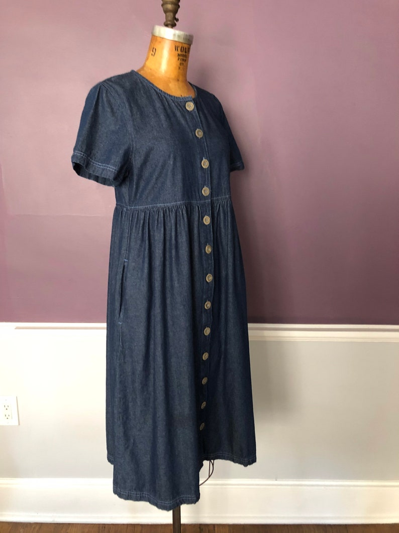 Simple 80s 90s Button Front Oversized Denim Dress with Pockets