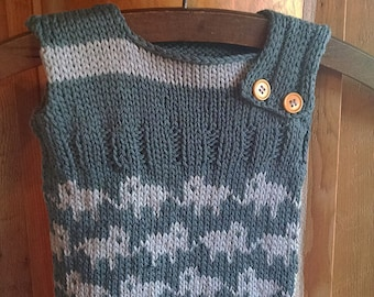 Hand knit Baby Vest, Soft Cotton - Made to Order