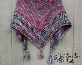 Hand knit Shawl, Soft Wool - Made to Order
