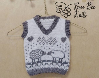 Hand knit Baby Vest, Soft Wool - Made to Order