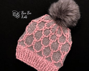 Hand knit Looking Glass Hat - Child size - Ready to Ship
