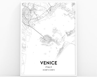 picture regarding Printable Map of Venice known as Venice map print Etsy