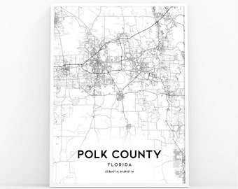 Map Of Polk County Florida.Polk County Florida Etsy