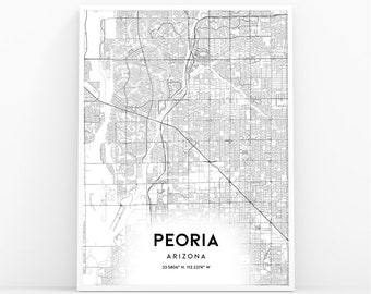 Peoria Map Poster Etsy