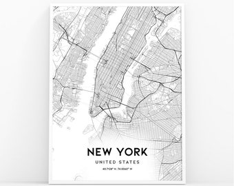 New York Map Black And White.New York Map Etsy