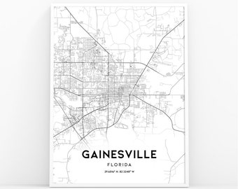 Gainesville Map Of Florida.Gainesville Map Etsy