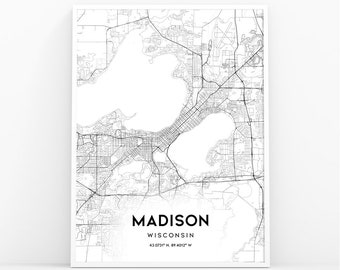 Madison wi map print | Etsy