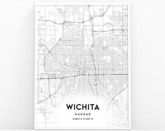 Wichita Ks Map Etsy