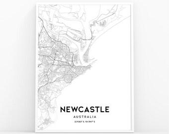 Australia Map Newcastle.Street Map Newcastle Etsy