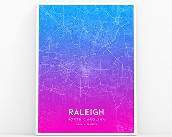 Raleigh map etsy raleigh map print north carolina nc usa map art poster city street road map print nursery room wall office decor printable map 050p malvernweather