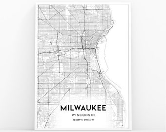 Milwaukee Map Etsy
