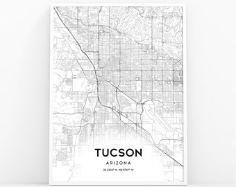 photo regarding Printable Map of Tucson Az named Tucson az map Etsy