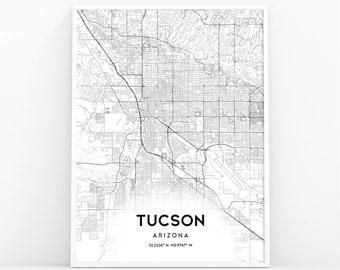 image regarding Printable Map of Tucson Az identified as Tucson az map Etsy