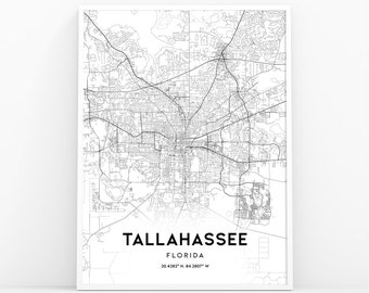 Map Of Florida Showing Tallahassee.Tallahassee Fl Map Etsy