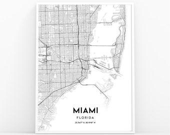 Miami Fl Map Etsy