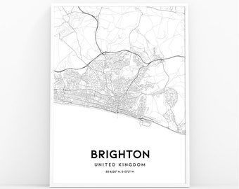 Map Of England Brighton.Brighton Map Etsy