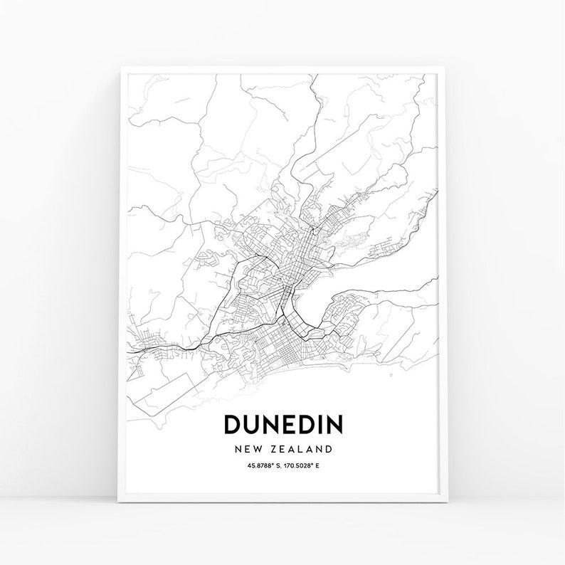 Dunedin Map New Zealand.Dunedin Map Print New Zealand Map Art Poster City Street Road Map Print Nursery Room Wall Office Decor Printable Map 169w