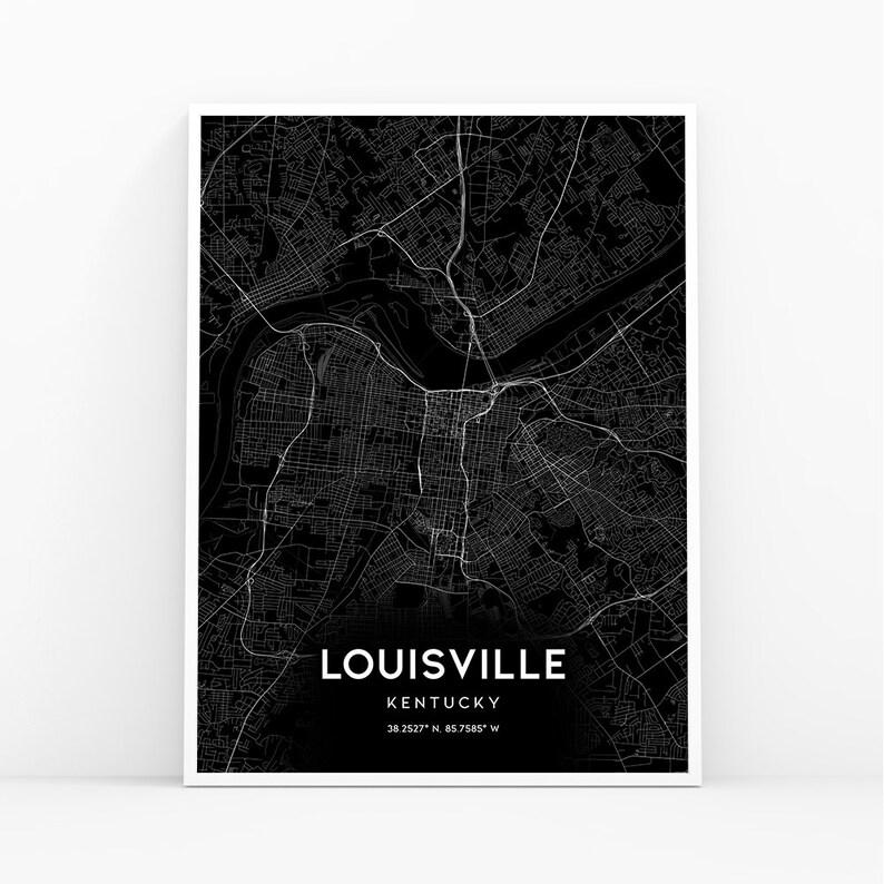 Louisville Map Print, Kentucky KY USA Map Art Poster, City Street Road on blank printable state outlines kentucky, outline of the state of kentucky, printable outline map of kentucky, drawing outline of kentucky,