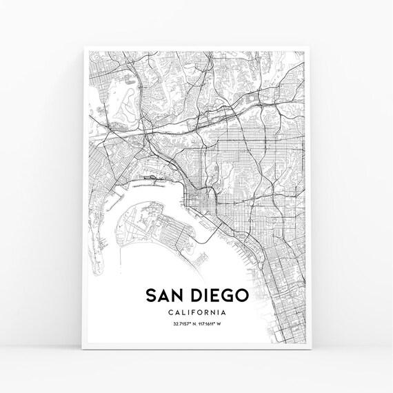 San go Map Print SD Map California Map Print San go | Etsy City Map Of San Go on