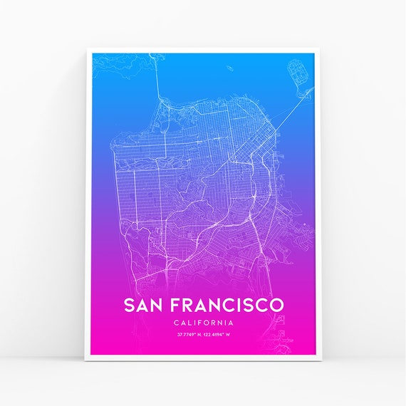 San Francisco Map Print, California CA USA Map Art Poster, City Street on northern europe map, ca map, western europe map, mu map, osi map, mco map, central europe map,